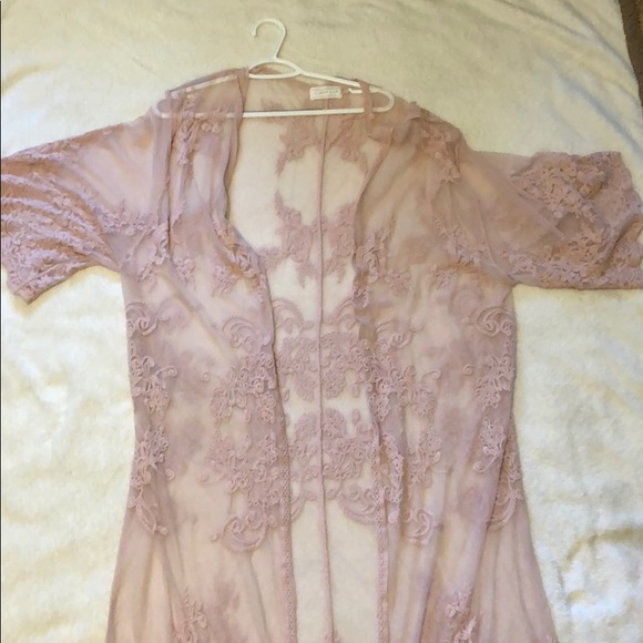 Mustard Seed Sweaters - Light Pink lace cardigan made by Mustard Seed